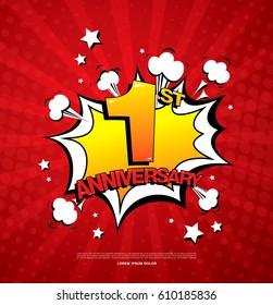 1st anniversary emblem. One year anniversary celebration symbol