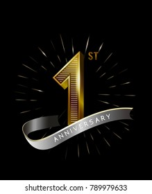 1st Anniversary fireworks and ahiny ribbon. gold anniversary logo on black background