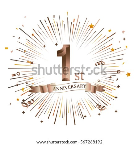 1st anniversary greeting card starburst vector stock vector royalty 1st anniversary greeting card with starburst vector illustration m4hsunfo