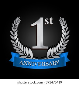 1st anniversary logo with blue ribbon and laurel wreath, vector template for birthday celebration.