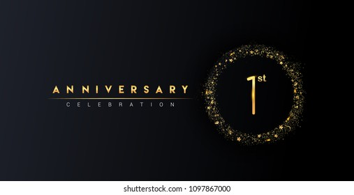 1st anniversary logo with confetti and golden glitter ring isolated on black background, vector design for greeting card and invitation card.