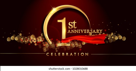 1st anniversary logo with golden ring, confetti and red ribbon isolated on elegant black background, sparkle, vector design for greeting card and invitation card