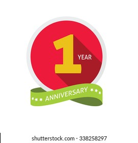 1st anniversary logo template with shadow on circle number one. 1 year icon. One year birthday party symbol. First company holiday, sticker, badge, ribbon, banner, poster, logotype, emblem, tag