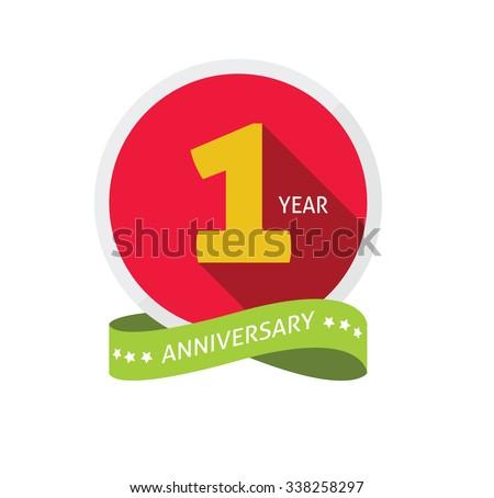 1st anniversary logo template shadow on のベクター画像素材