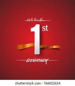 1st anniversary logotype with golden ribbon isolated on red elegance background, vector design for birthday celebration, greeting card and invitation card.
