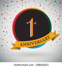 1st Anniversary poster / template design in retro style - Vector Background