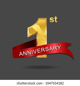 1st anniversary year celebration logotype. Logo gold numbers and ribbon gray background.