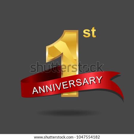 1st Anniversary Year Celebration Logotype Logo Image