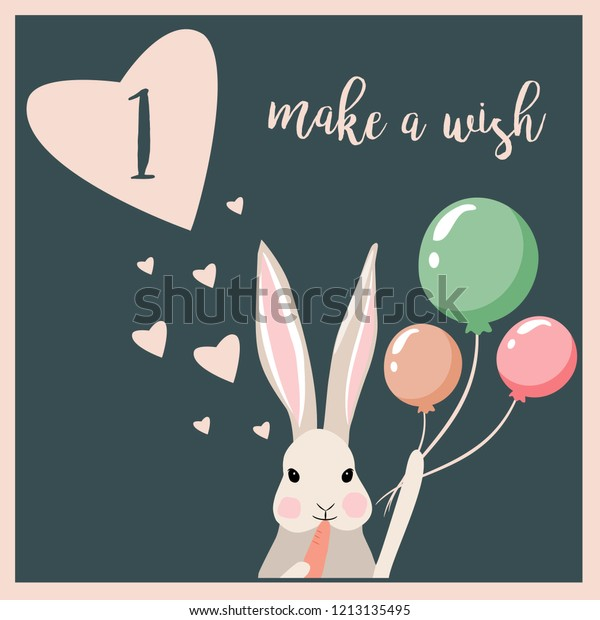 1st Birthday Card Design Balloons Hearts Stock Vector
