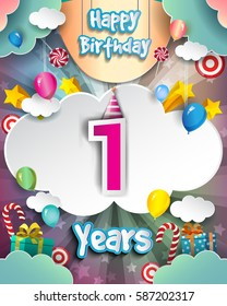 1st Birthday Celebration greeting card Design, with clouds and balloons. Vector elements for the celebration party of one years anniversary