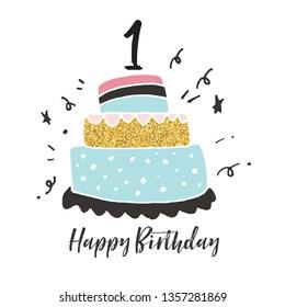 1st birthday hand drawn cake birthday card