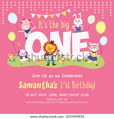 1st Birthday Party Invitation Card Stock Vektorgrafik Lizenzfrei