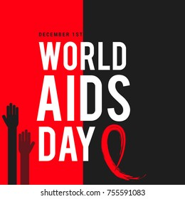 1st December World Aids Day Illustration Concept With Aids Awareness Ribbon.Poster or Banner  Template.