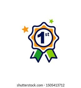 1st first place award winner badge guarantee winning prize ribbon symbol sign icon logo template Vector illustration