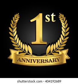 1st anniversary logo images stock photos vectors shutterstock https www shutterstock com image vector 1st golden anniversary logo ring ribbon 404192689