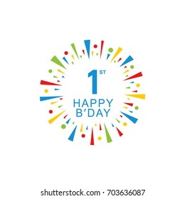 1st Happy Birthday logo, circle shape, colorful sunburst, red blue green yellow color