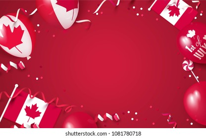 1st of July. Canada independence day celebration background with balloons, flag and confetti. Festive frame flat lay. Vector illustration