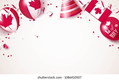 1st of July. Canada independence day celebration background with balloons, flag and confetti. Festive border flat lay. Vector illustration