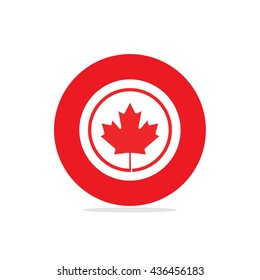 1st of July Canada Independence Day Label Design. Canada Day Victoria Day creative backdrop. Canadian Day background, banner, greeting card template. Symbol red background. Vector Illustration
