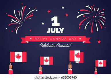 1st of July. Happy Canada Day greeting card. Celebration background with fireworks, flags and text. Vector illustration