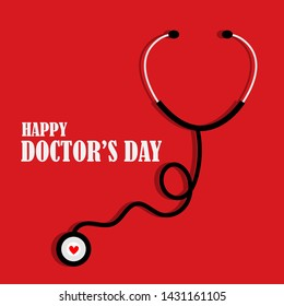1st July Happy Doctor's Day illustration in vector,illustration of stethoscope with red background in vector file