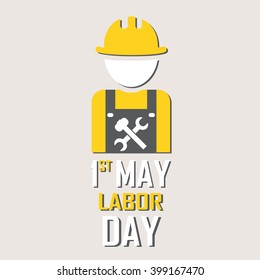 1st May - Labor Day logo Poster, banner, brochure or flyer design with stylish text 1st May  -  Labor Day on grey background with yellow and white typography creative artwork