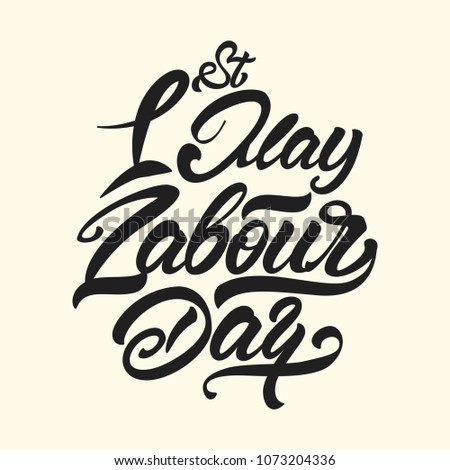 1st May Labour Day Lettering Style Stock Vector Royalty Free