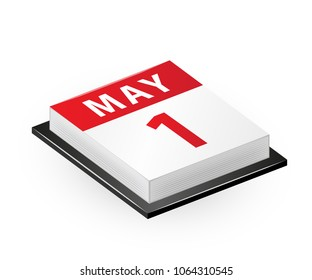 1st May - Labour Day. Vector isometric calendar icon