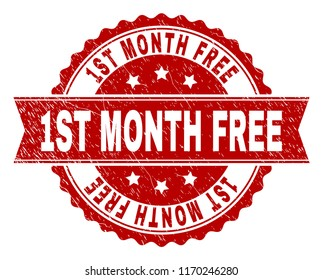1ST MONTH FREE seal print with corroded texture. Rubber seal imitation has round medallion form and contains ribbon. Red vector rubber print of 1ST MONTH FREE label with grunge texture.