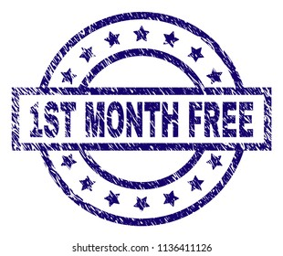 1ST MONTH FREE stamp seal watermark with grunge texture. Designed with rectangle, circles and stars. Blue vector rubber print of 1ST MONTH FREE caption with scratched texture.