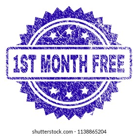 1ST MONTH FREE stamp watermark with dirty style. Blue vector rubber seal print of 1ST MONTH FREE title with unclean texture.