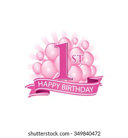 1st pink happy birthday logo with balloons and burst of light