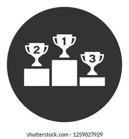 1-st place symbol. Cup award sign. Goblet podium vector icon. Champion goblet icon. Reward ceremony icon. Prize places symbol. Victory goblet symbol. EPS 10 flat symbol. Round icon design