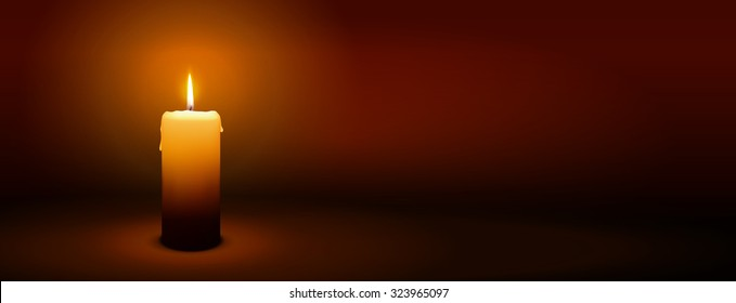 1st Sunday of Advent - First Single Candle with Warm Atmosphere - Candlelight, Panorama, Banner, Website Head Template - Candlelight Dinner