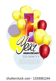 1st year Anniversary Celebration Design with balloons. Colorful design elements for banner, poser and invitation card. Bithday party template - Vector