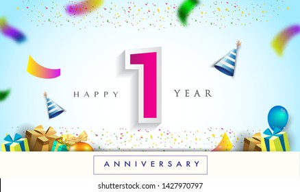 1st Year Anniversary Celebration Design, with gift box and balloons, ribbon, Colorful Vector template elements for your birthday celebrating party.