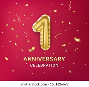1st year Anniversary celebration design template. Number one in the form of a golden balloon witt gold sparkles confetti. Red background. Realistic style. Vector illustration.