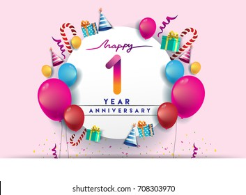 1st year Anniversary Celebration Design with balloons and gift box, Colorful design elements for banner and invitation card.