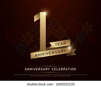 1st year anniversary celebration gold number and golden ribbons with fireworks on dark background.  vector illustration