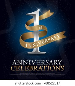 1st year anniversary celebration silver and gold logo with golden ribbon on dark blue background. vector illustrator