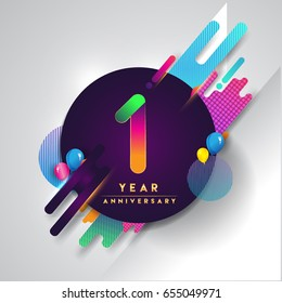 1st year Anniversary logo with colorful abstract background, vector design template elements for invitation card and poster one year birthday celebration