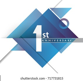 1st year anniversary logo with geometric, vector design birthday celebration isolated on white background.