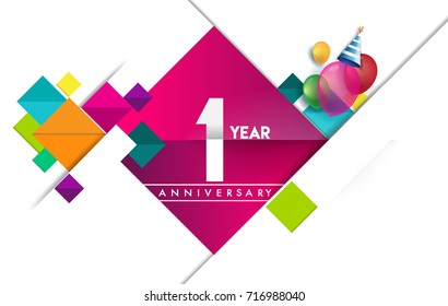 1st year anniversary logo, vector design birthday celebration with colorful geometric isolated on white background.