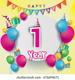 1st years Anniversary Celebration, birthday card or greeting card design with gift box and balloons, Colorful vector elements for the celebration party of one years anniversary.