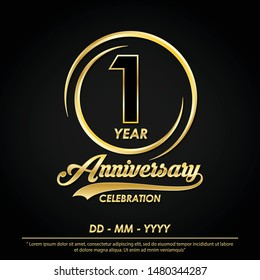 1st years anniversary celebration emblem. anniversary logo with elegance of golden ring on black background, vector illustration template design for celebration greeting card and invitation card
