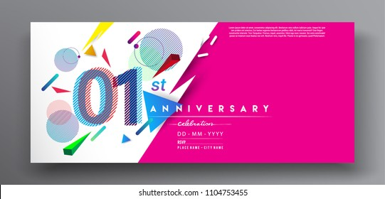 1st years anniversary logo, vector design birthday celebration with colorful geometric background and circles shape.