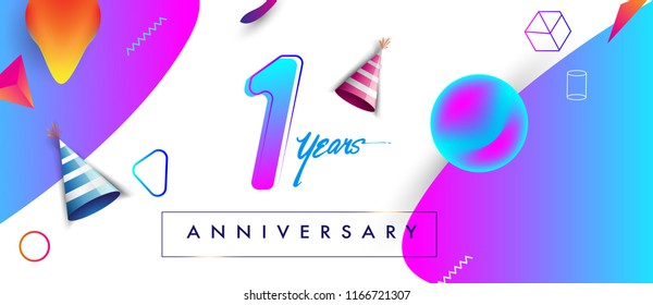 1st years anniversary logo, vector design birthday celebration with colorful geometric background and futuristic elements
