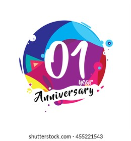 1st years greeting card anniversary with colorful number and frame. logo and icon with circle badge and background