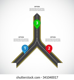 2 to 1 vertical converging roads with arrows, bright map pointers and text fields - Teamwork and focus on results - Vector infographics