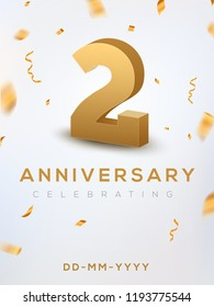 2 Anniversary gold numbers with golden confetti. Celebration 2 anniversary event party template.